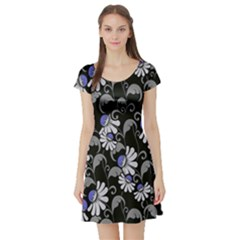 Flourish Floral Purple Grey Black Flower Short Sleeve Skater Dress by Alisyart