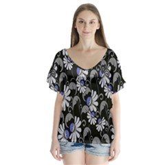 Flourish Floral Purple Grey Black Flower Flutter Sleeve Top