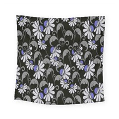 Flourish Floral Purple Grey Black Flower Square Tapestry (small)