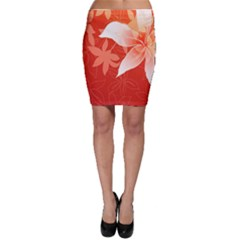Lily Flowers Graphic White Orange Bodycon Skirt