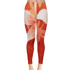 Lily Flowers Graphic White Orange Classic Winter Leggings