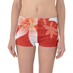 Lily Flowers Graphic White Orange Reversible Bikini Bottoms