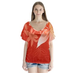 Lily Flowers Graphic White Orange Flutter Sleeve Top