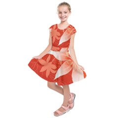 Lily Flowers Graphic White Orange Kids  Short Sleeve Dress