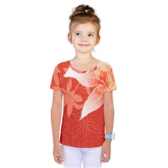 Lily Flowers Graphic White Orange Kids  One Piece Tee