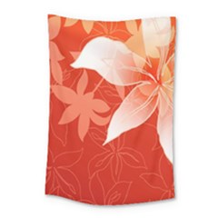 Lily Flowers Graphic White Orange Small Tapestry