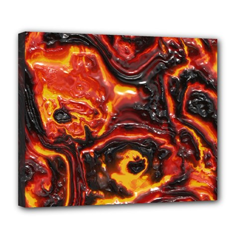 Lava Active Volcano Nature Deluxe Canvas 24  X 20   by Alisyart