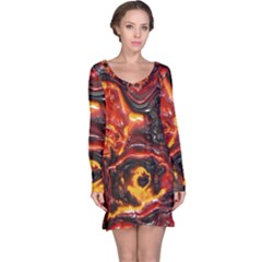 Lava Active Volcano Nature Long Sleeve Nightdress