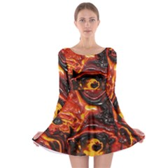Lava Active Volcano Nature Long Sleeve Skater Dress
