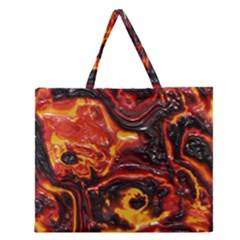 Lava Active Volcano Nature Zipper Large Tote Bag