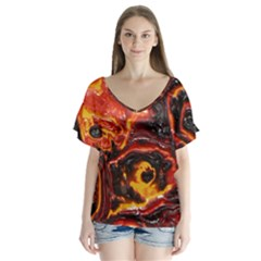 Lava Active Volcano Nature Flutter Sleeve Top