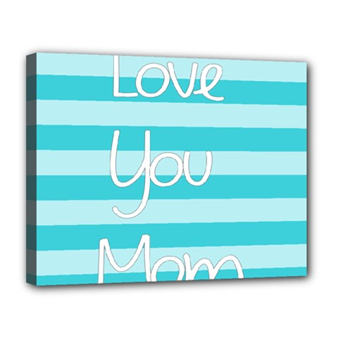 Love You Mom Stripes Line Blue Canvas 14  X 11  by Alisyart