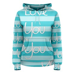 Love You Mom Stripes Line Blue Women s Pullover Hoodie