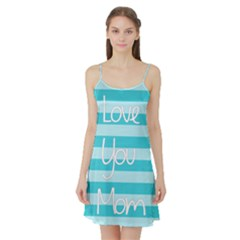 Love You Mom Stripes Line Blue Satin Night Slip