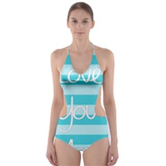 Love You Mom Stripes Line Blue Cut-out One Piece Swimsuit by Alisyart