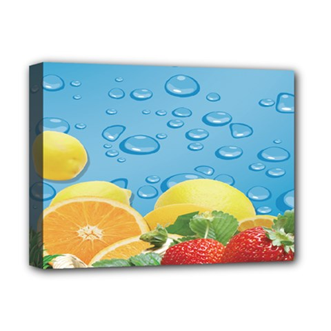 Fruit Water Bubble Lime Blue Deluxe Canvas 16  X 12   by Alisyart
