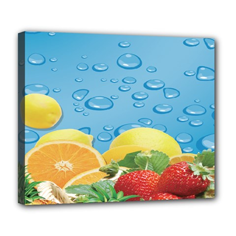 Fruit Water Bubble Lime Blue Deluxe Canvas 24  X 20   by Alisyart