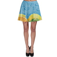 Fruit Water Bubble Lime Blue Skater Skirt