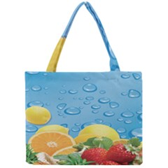 Fruit Water Bubble Lime Blue Mini Tote Bag by Alisyart