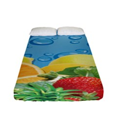 Fruit Water Bubble Lime Blue Fitted Sheet (full/ Double Size) by Alisyart