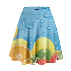 Fruit Water Bubble Lime Blue High Waist Skirt by Alisyart