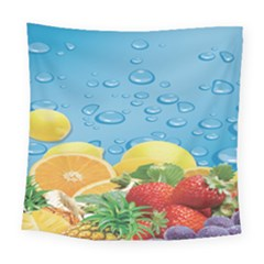Fruit Water Bubble Lime Blue Square Tapestry (large) by Alisyart
