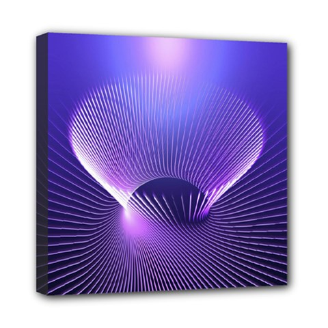 Lines Lights Space Blue Purple Mini Canvas 8  X 8  by Alisyart