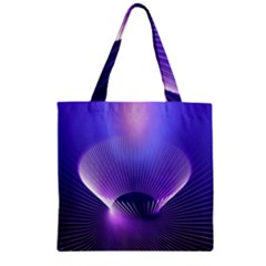 Lines Lights Space Blue Purple Zipper Grocery Tote Bag