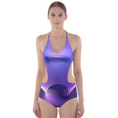 Lines Lights Space Blue Purple Cut Out One Piece Swimsuit