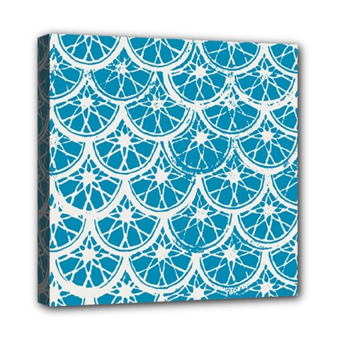 Lime Blue Star Circle Mini Canvas 8  X 8
