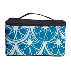 Lime Blue Star Circle Cosmetic Storage Case