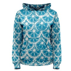 Lime Blue Star Circle Women s Pullover Hoodie