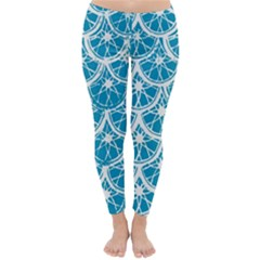 Lime Blue Star Circle Classic Winter Leggings