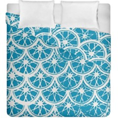 Lime Blue Star Circle Duvet Cover Double Side (king Size)