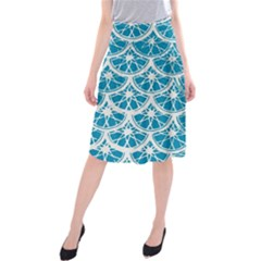 Lime Blue Star Circle Midi Beach Skirt by Alisyart