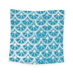 Lime Blue Star Circle Square Tapestry (small) by Alisyart