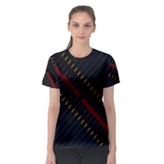 Material Design Stripes Line Red Blue Yellow Black Women s Sport Mesh Tee by Alisyart