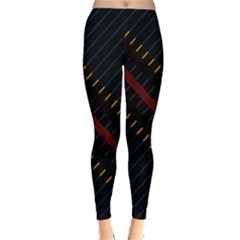 Material Design Stripes Line Red Blue Yellow Black Classic Winter Leggings