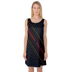 Material Design Stripes Line Red Blue Yellow Black Sleeveless Satin Nightdress