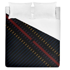 Material Design Stripes Line Red Blue Yellow Black Duvet Cover (queen Size) by Alisyart
