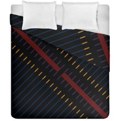 Material Design Stripes Line Red Blue Yellow Black Duvet Cover Double Side (california King Size)