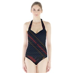 Material Design Stripes Line Red Blue Yellow Black Halter Swimsuit