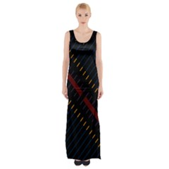 Material Design Stripes Line Red Blue Yellow Black Maxi Thigh Split Dress