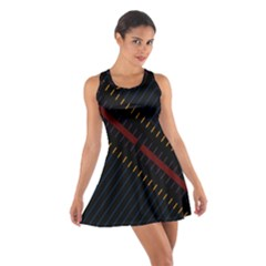 Material Design Stripes Line Red Blue Yellow Black Cotton Racerback Dress