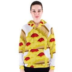 Pasta Salad Pizza Cheese Women s Zipper Hoodie by Alisyart