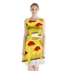 Pasta Salad Pizza Cheese Sleeveless Chiffon Waist Tie Dress by Alisyart