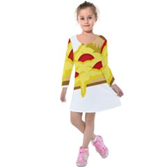 Pasta Salad Pizza Cheese Kids  Long Sleeve Velvet Dress by Alisyart