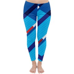 Minimal Swim Blue Illustration Pool Classic Winter Leggings