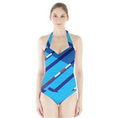 Minimal Swim Blue Illustration Pool Halter Swimsuit by Alisyart