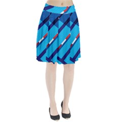 Minimal Swim Blue Illustration Pool Pleated Skirt